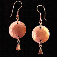 Copper disc earrings with turquoise