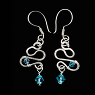 Silver earrings with Swarovski crystals