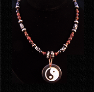 Yin Yang pendant with brecciated jasper necklace